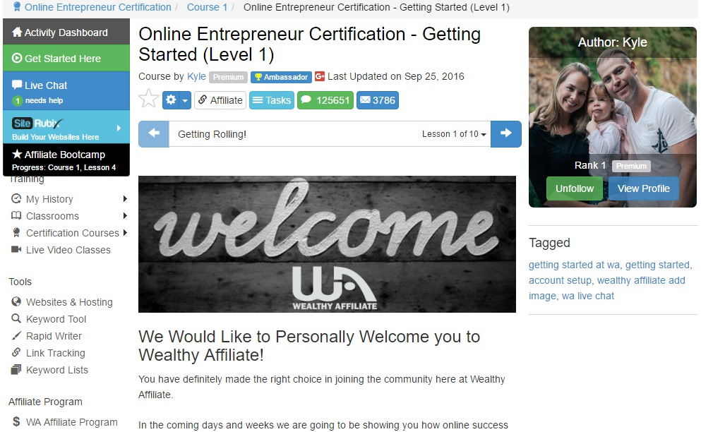 Wealthy Affiliate Review-Welcome